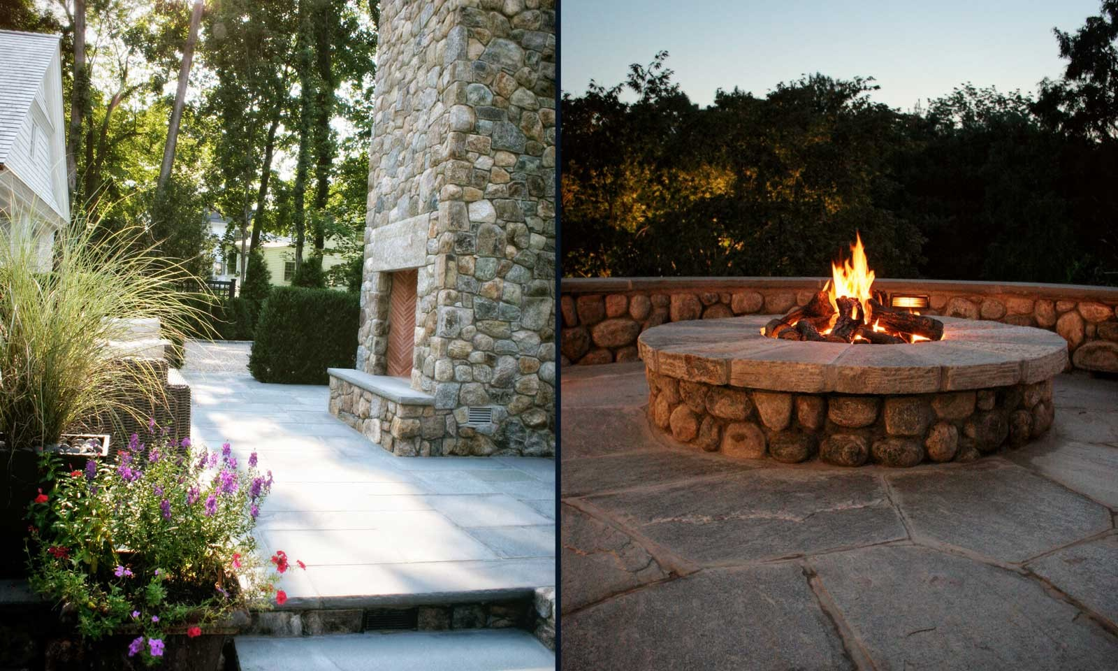 Custom Vertical Outdoor Fireplace